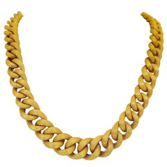 18 Karat Yellow Gold Italian Curbed Link Chain Necklace