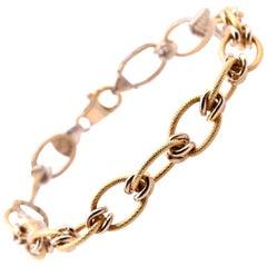 "18 Karat Yellow Gold Italian Designed ""Creazioni"" Textured Oval Link Bracelet"