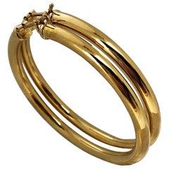 18 Karat Yellow Gold Italian Hoop Earrings 2  1/16 Inch Diameter