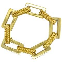 18 Karat Yellow Gold Italian Rectangular and Woven Link Bracelet