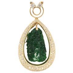 18 Karat Yellow Gold, Jade and Diamond Necklace