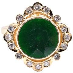 18 Karat Yellow Gold Jade and Diamond Ring