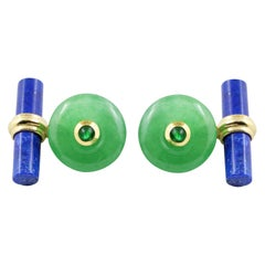 18 Karat Yellow Gold Jade and Emeralds with Lapis Lazuli Cufflinks
