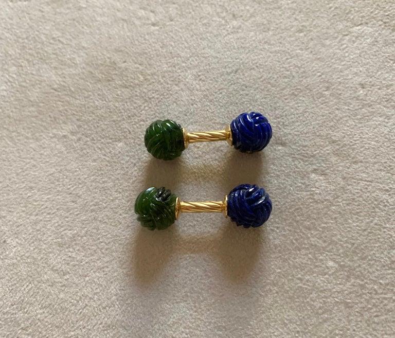 18 Karat Yellow Gold Jade and Lapislazuli Interwoven Sphere Cufflinks For Sale 2