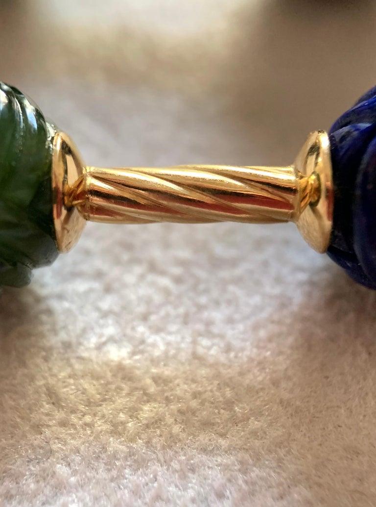 18 Karat Yellow Gold Jade and Lapislazuli Interwoven Sphere Cufflinks For Sale 3