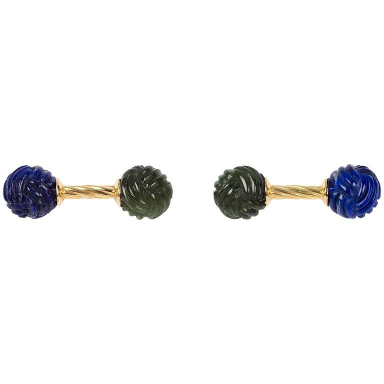 18 Karat Yellow Gold Jade and Lapislazuli Interwoven Sphere Cufflinks For Sale