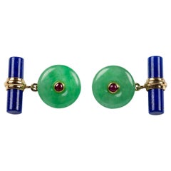 18 Karat Yellow Gold Jade and Rubies with Lapis Lazuli Cufflinks