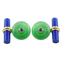 18 Karat Yellow Gold Jade and Sapphires with Lapis Lazuli Cufflinks