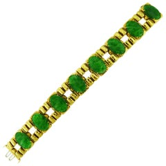 18 Karat Yellow Gold Jade Bracelet