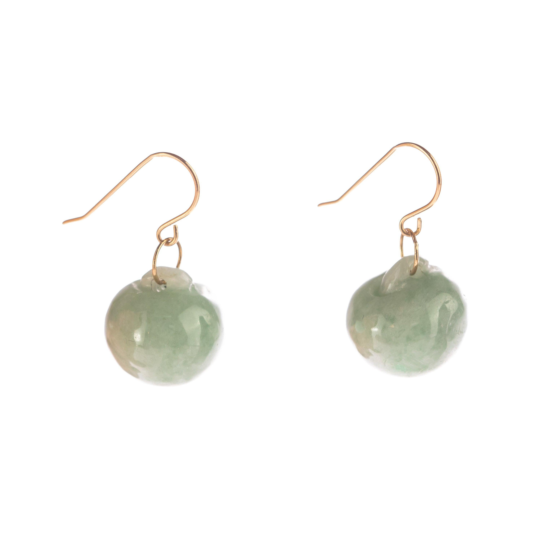 18 Karat Yellow Gold Jade Green Balls Fruit Carved Handmade Drop Chic Earrings