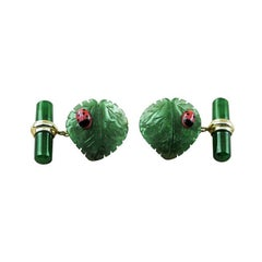 18 Karat Yellow Gold Jade Leaf Ladybug Coral Cufflinks