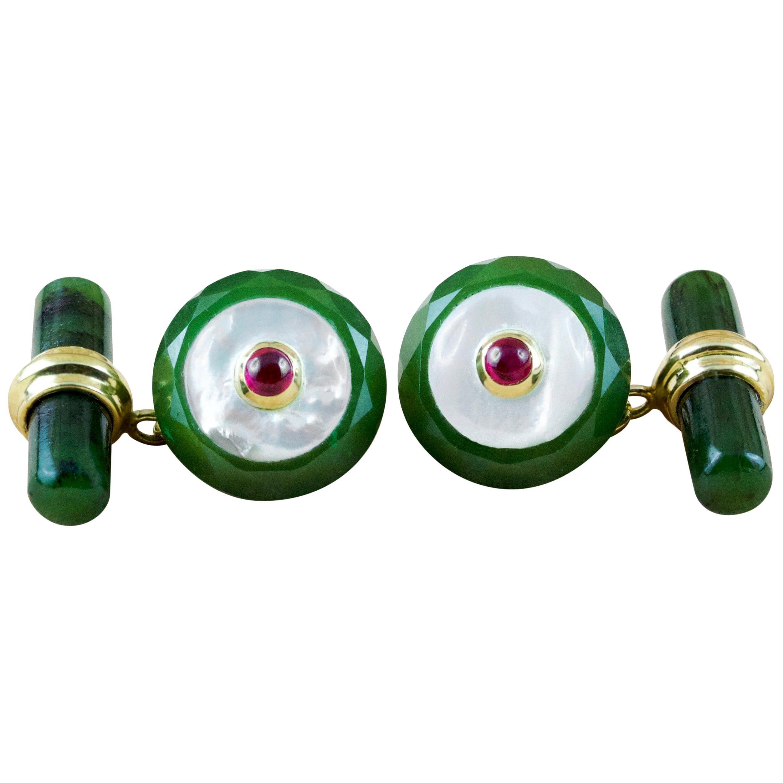 18 Karat Yellow Gold Jade Mother of Pearl Ruby Cufflinks