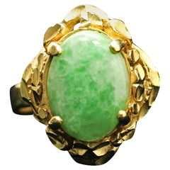 18 Karat Yellow Gold Jade Ring