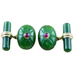 18 Karat Yellow Gold Jade Ruby Oval Cufflinks