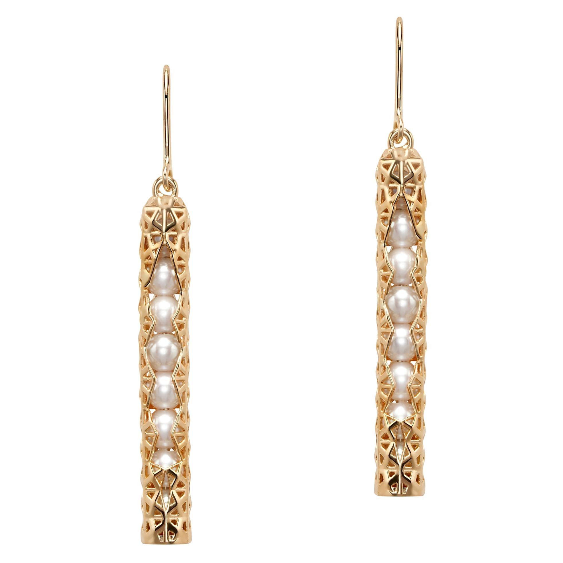 18 Karat Yellow Gold Japanese Akoya Pearls Geometric Hoop Earrings