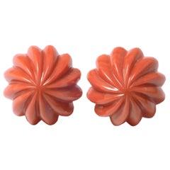 18 Karat Yellow Gold Japanese Momoiro Sang Coral Earrings
