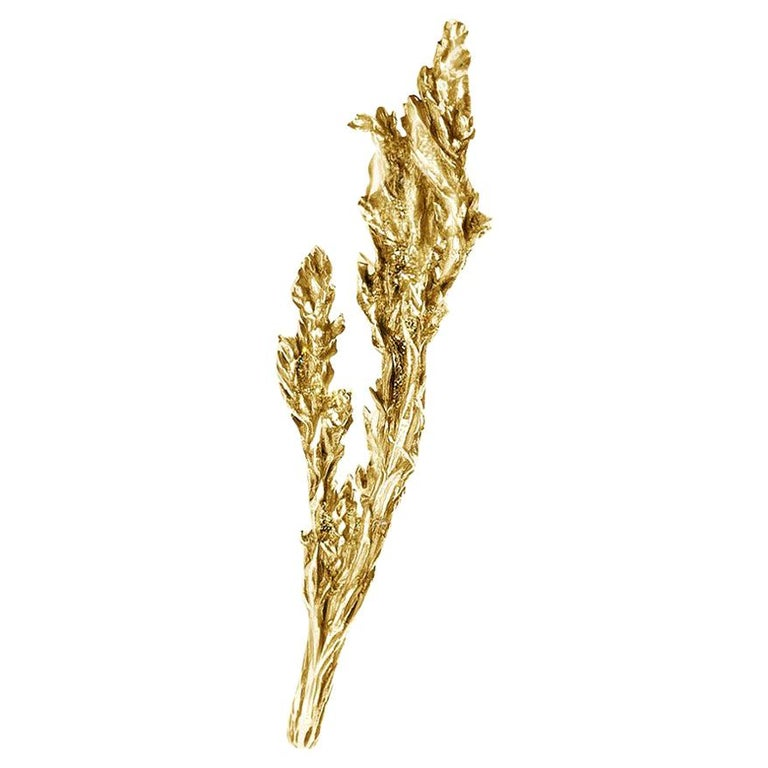 18 Karat Yellow Gold Juniper Brooch by the Artist For Sale