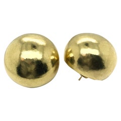 18 Karat Yellow Gold Karl Stittgen Hammered Dome Earrings