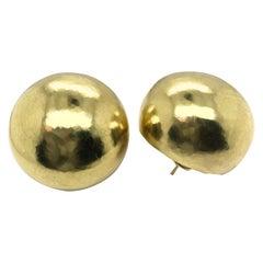 18 Karat Yellow Gold Karl Stittgen Hammered Dome Earrings