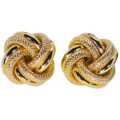 18 Karat Yellow Gold Knot Cufflink 8 Grams