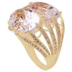 18 Karat Yellow Gold Kunzite and Diamond Ring