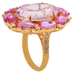 18 Karat Yellow Gold Kunzite with Pink Sapphire and Diamond Ring