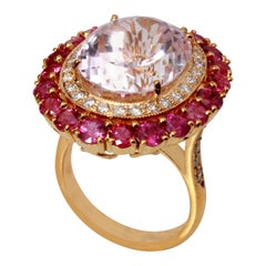18 Karat Yellow Gold Kunzite with Ruby and Diamond Ring