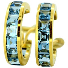 18 Karat Yellow Gold Ladies Clip-On Earrings with Natural Aquamarines