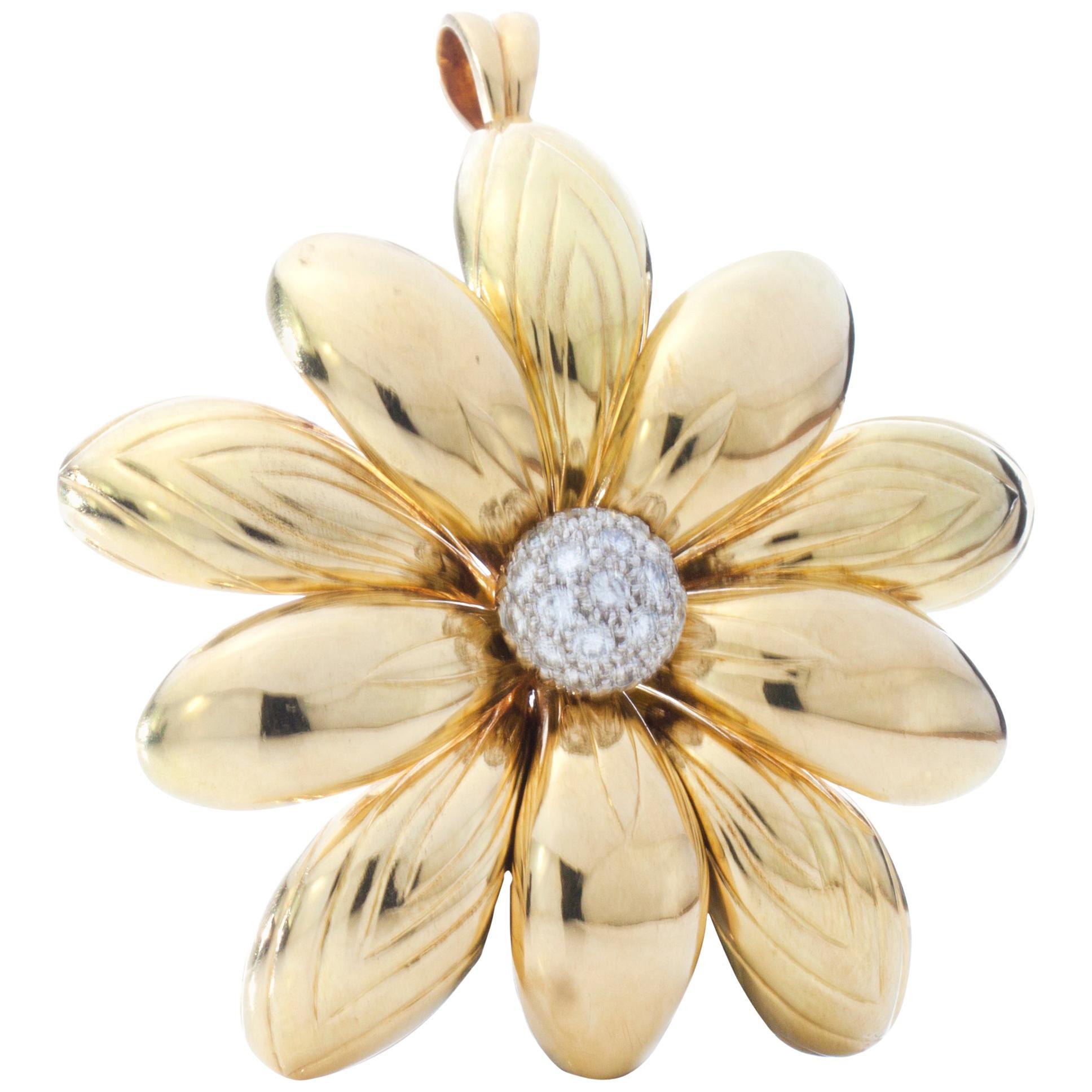 18 Karat Yellow Gold Ladies Flower Brooch and Pendant with Diamonds