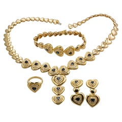 18 Karat Yellow Gold Ladies Heart Designed Sapphire and Diamond 4-Piece Set