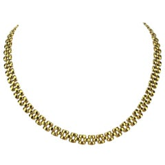 18 Karat Yellow Gold Ladies Panther Link Chain Necklace