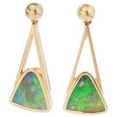 18 Karat Yellow Gold Ladies Screw-Back Opal Earrings, 1950s