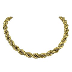 18 Karat Yellow Gold Ladies Thick Rope Chain Necklace