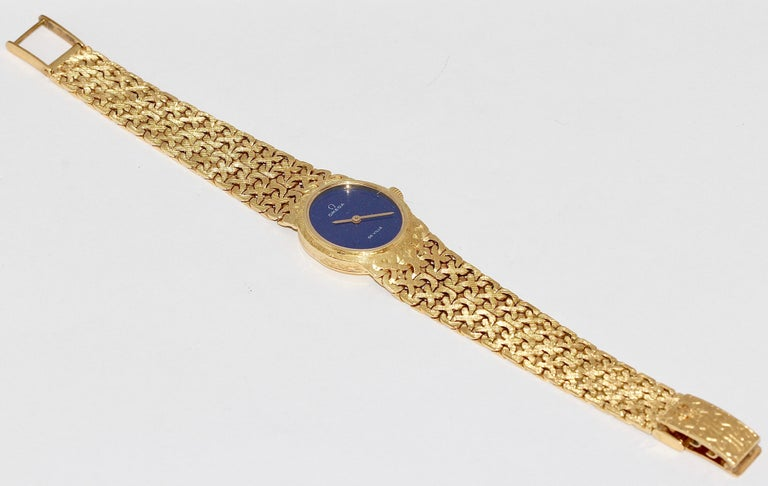 18 Karat Yellow Gold Ladies Wristwatch, Omega De Ville, with Lapis Lazuli Dial For Sale 1