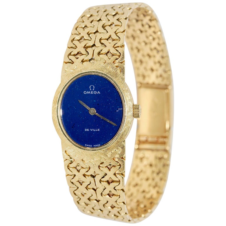 18 Karat Yellow Gold Ladies Wristwatch, Omega De Ville, with Lapis Lazuli Dial For Sale