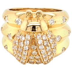18 Karat Yellow Gold Lady Bug Diamond Ring Made in Italy with Box