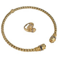 18 Karat Yellow Gold Lalaounis Style Necklace and Ring