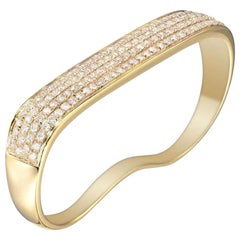 18 Karat Yellow Gold Lana Flat Diamond 2-Fingers Ring