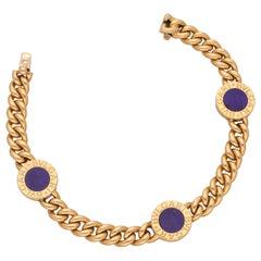 Bulgari 18 Karat Yellow Gold Lapis  Bracelet