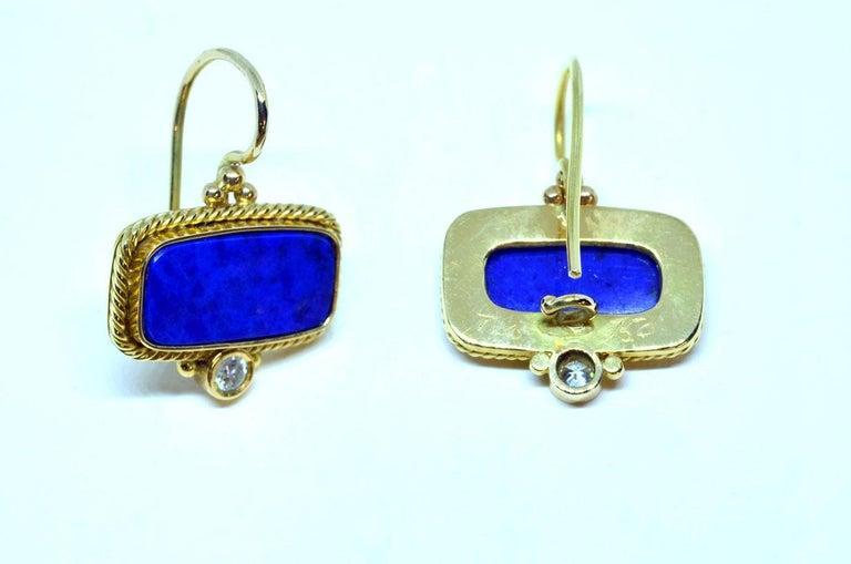 Artisan 18 Karat Yellow Gold Lapis Lazuli and Diamond Earrings Handmade For Sale