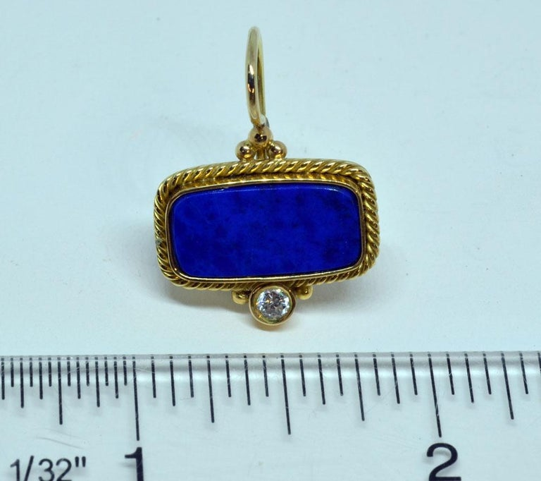 18 Karat Yellow Gold Lapis Lazuli and Diamond Earrings Handmade In New Condition For Sale In Warren, ME