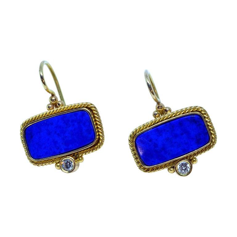 18 Karat Yellow Gold Lapis Lazuli and Diamond Earrings Handmade For Sale
