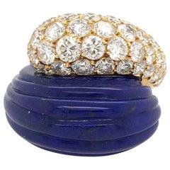 18 Karat Yellow Gold, Lapis Lazuli and Diamond Ring