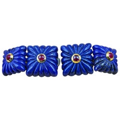 18 Karat Yellow Gold Lapis Lazuli and Rubies Double Square Cufflinks
