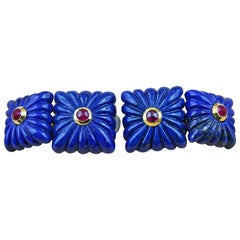 18 Karat Yellow Gold Lapis Lazuli and Rubies Double Square Cufflinks