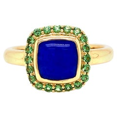 18 Karat Yellow Gold Lapis Lazuli and Tsavorite Garnet Halo Ring