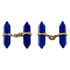 18 Karat Yellow Gold Lapis Lazuli Bar Cufflinks