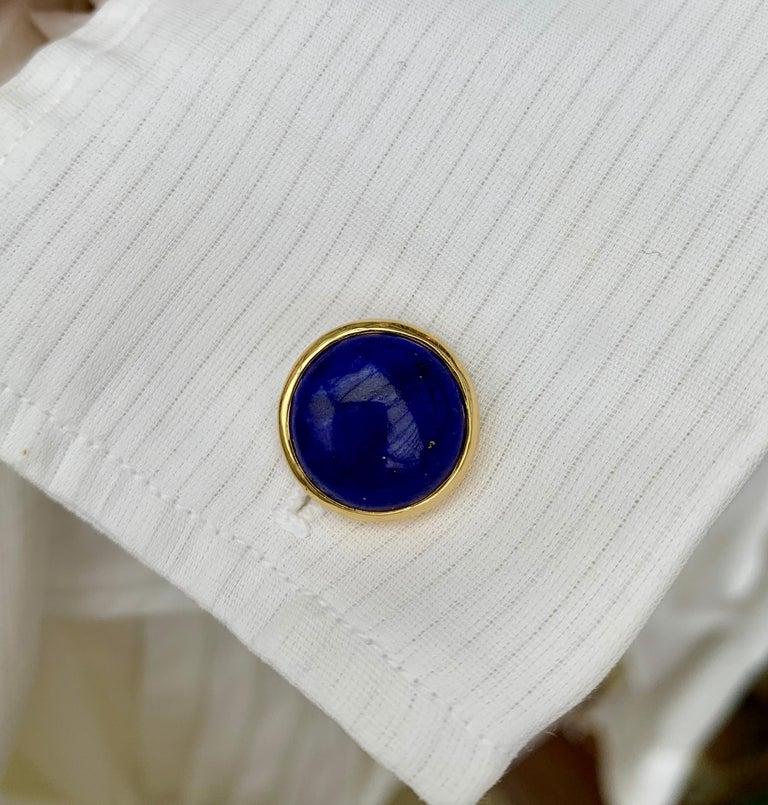 Contemporary 18 Karat Yellow Gold Lapis Lazuli Chain Cufflinks For Sale