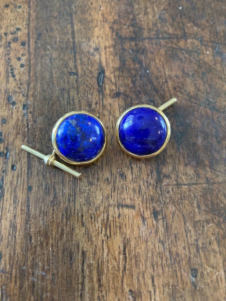 18 Karat Yellow Gold Lapis Lazuli Chain Cufflinks In New Condition For Sale In London, GB