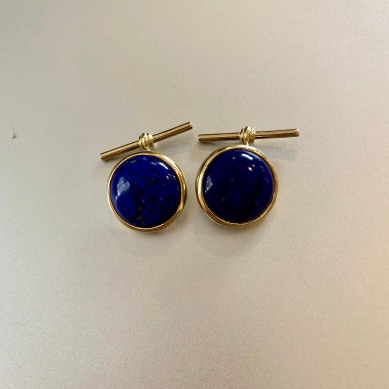 18 Karat Yellow Gold Lapis Lazuli Chain Cufflinks For Sale 1